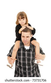 father carrying his daughter on the head .