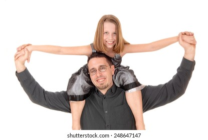 A father is carrying his young daughter on his back in closeup, isolated on white background.