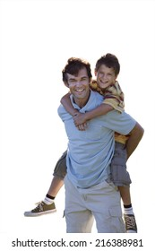 Father carrying son piggyback, smiling, portrait, cut out