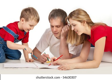 Father and child drawing together on white background