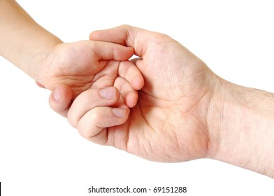 father and child hands; closeup