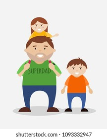 Father with children, super dad illustration for fathers day