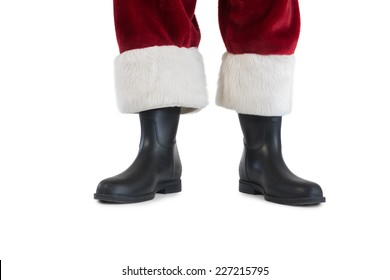 Father Christmas boots and legs on white background