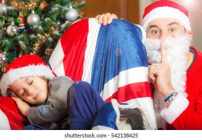 Father Christmas and a kid