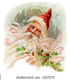 'Father Christmas' - an old-fashioned wintery Santa Claus illustration - circa 1905