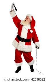 father christmas  singing and looking happy studio shot on white