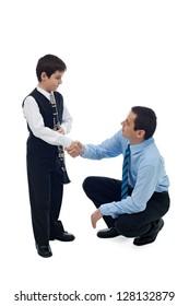 Father congratulate to his successful son