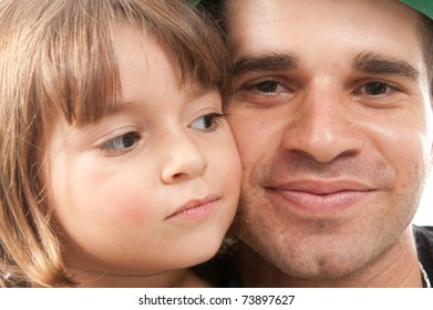 father and daughter with face together .