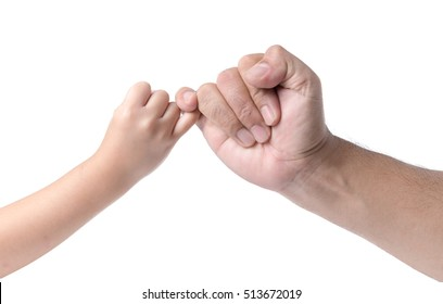 father and daughter  hand making promise as a friendship concept isolated on white background