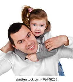Father and daughter hugging smiling isolated on white