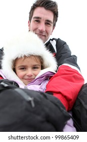father and daughter on a ski vacation