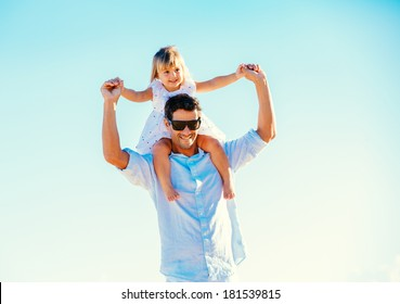 Father and Daughter Playing, Having Fun Together, Quality Time