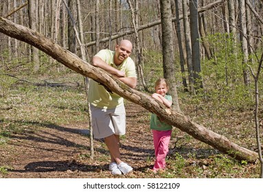 Father and Daughter in the Woods