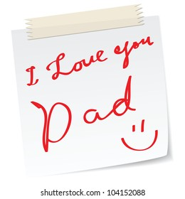 father day greetings on a paper notes, with handwritten message.