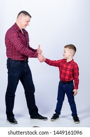 Father example of noble human. Cool guys. Father little son red shirts family look outfit. Best friends forever. Happiness being father of boy. Dad and adorable child. Parenthood concept. Fathers day.