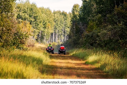 A father and his sixteen year old teenage son riding a grassy path on a trail through a forest on all terrain vehicles in a sunny summer landscape