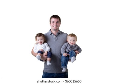 A father and his twin babies