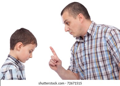 Father keeping a lesson to his son about behaving