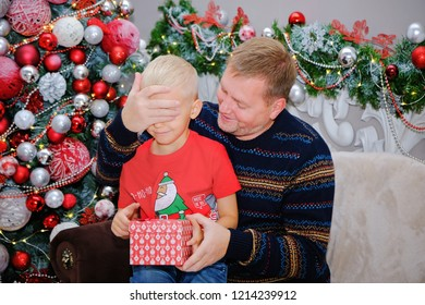 Father Kid Gifts Near Christmas Tree Stock Photo (Edit Now ...