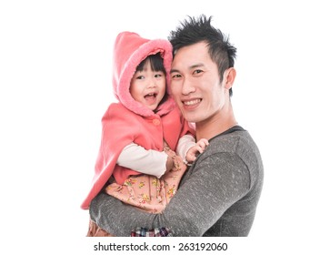 Father and little daughter smiling