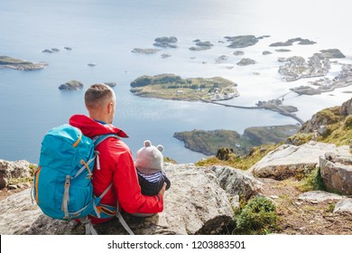 father and little son travel in mountains. Family, travel, vacation, childhood, father's day concept