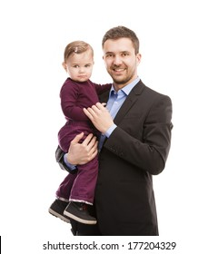 Father as manager with his baby isolated over white background.