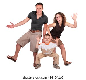 father, mother and son dance