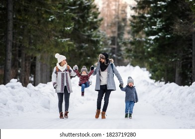 Father and mother with two small children in winter nature, walking in the snow. - Shutterstock ID 1823719280