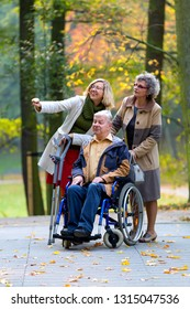 father on wheelchair with wife and daughter in the park