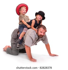 Father playing with his childs