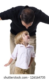 Father playing with little daughter