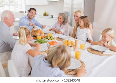 Father proposing a slice of turkey for thanksgiving