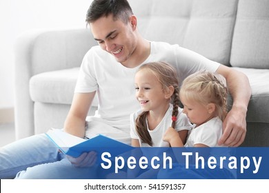 Father reading book with children at home. Text SPEECH THERAPY on background