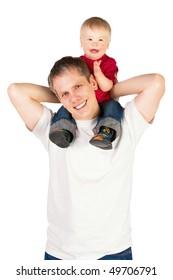 Father riding his son piggyback