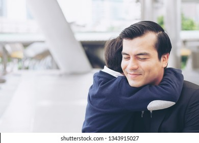 Father single dad and son fill happy Hugging son on business district urban, Dad and Son happiness family concept