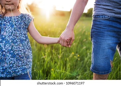 Father with a small daughter on a walk in spring nature at sunset.