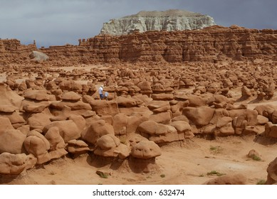 father and small son in goblin valley