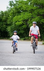 Father and son cycling