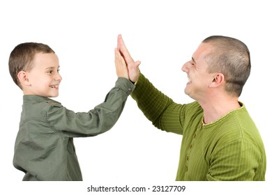 "Father and son doing a ""High five"", over white background"
