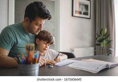 Father and Son doing homework Together