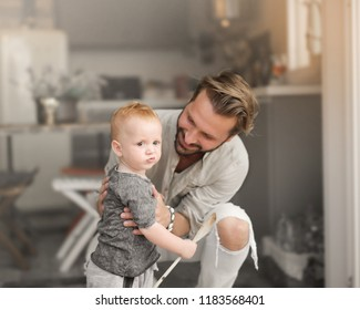 Father and son enjoying each other's company