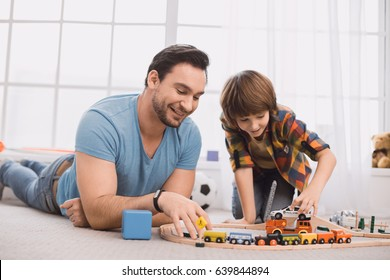Father and son family time together at home