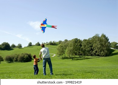 Father and son flying a kite, rear view