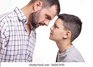 father and son foreheads, respect for his father, the severity, the son of punishment