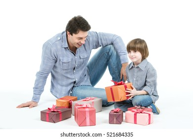 Kids Give Gift Father Images, Stock Photos & Vectors