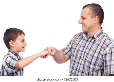 Father and son giving a hip-hop salute