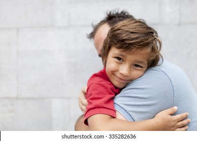 father and son happy