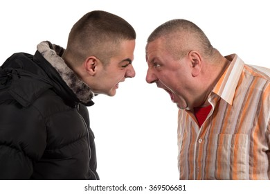 Father and son having an argument isolated on white background