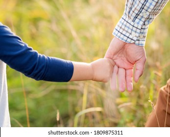 Father and son hold hands. Emotional and moral support. Kid holds daddy's finger. Golden hour outdoors. Natural summer or autumn background.