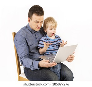 Father and  son with the laptop